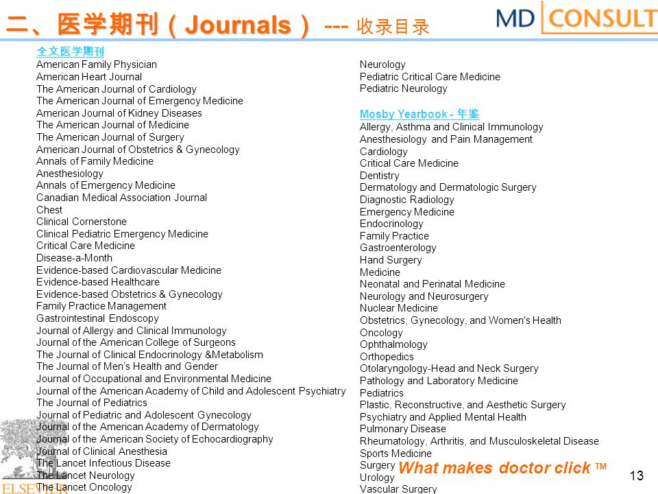 What makes doctor click TM 13 二、医学期刊( Journals ) 二、医学期刊( Journals ) --- 收录目录 全文医学期刊 American Family Physician American Heart Journal The American Jour