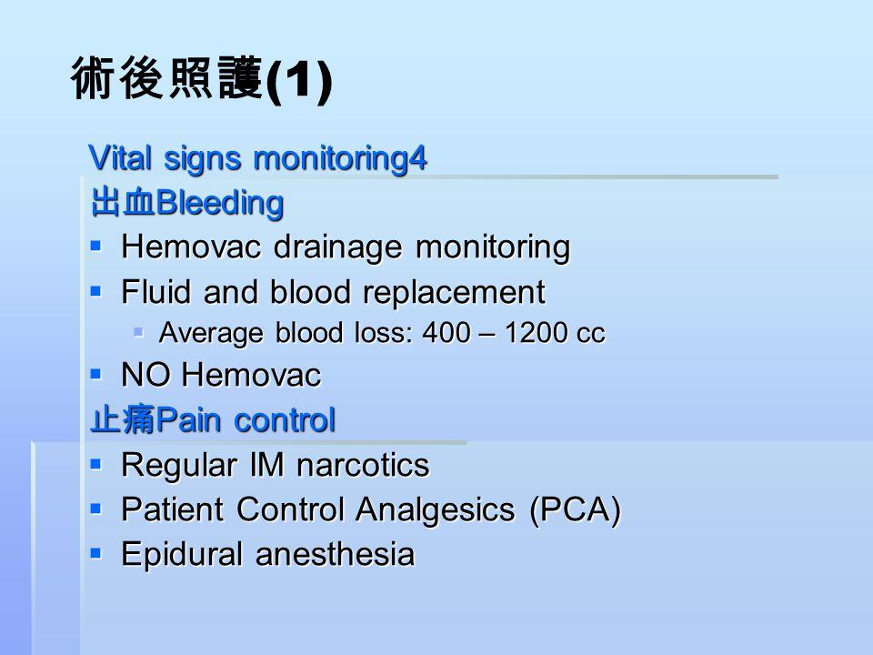 術後照護 (1) Vital signs monitoring4 出血 Bleeding  Hemovac drainage monitoring  Fluid and blood replacement  Average blood loss: 400 – 1200 cc  NO Hemo