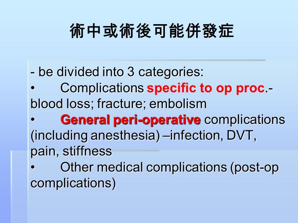 術中或術後可能併發症 - be divided into 3 categories:Complications.- blood loss; fracture; embolismGeneral peri-operative complications (including anesthesia) –i