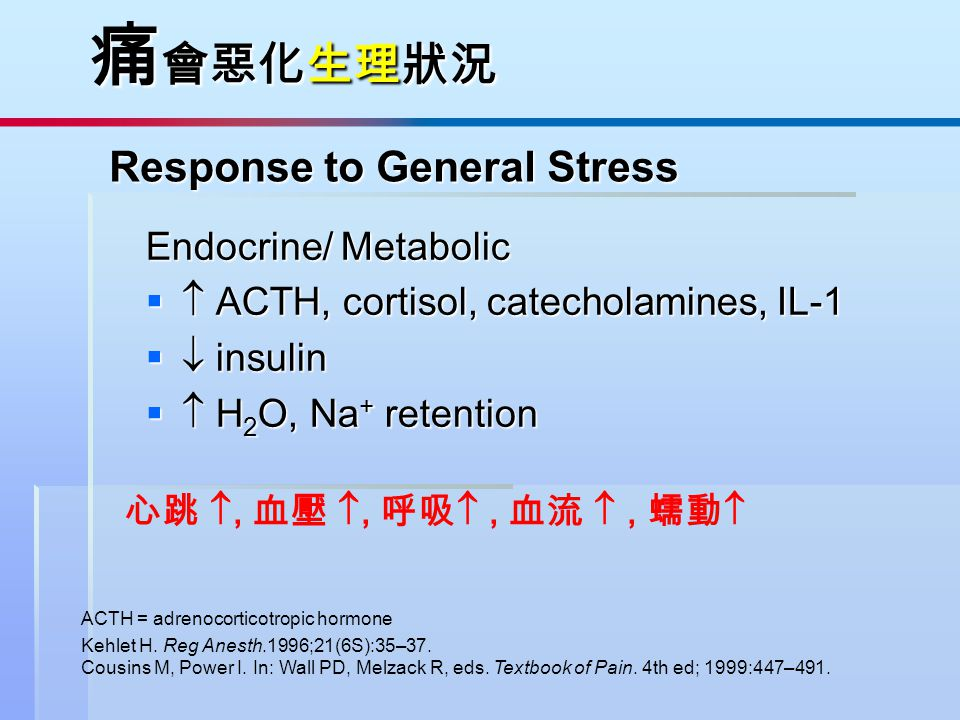 Response to General Stress Response to General Stress Endocrine/ Metabolic   ACTH, cortisol, catecholamines, IL-1   insulin   H 2 O, Na + retent