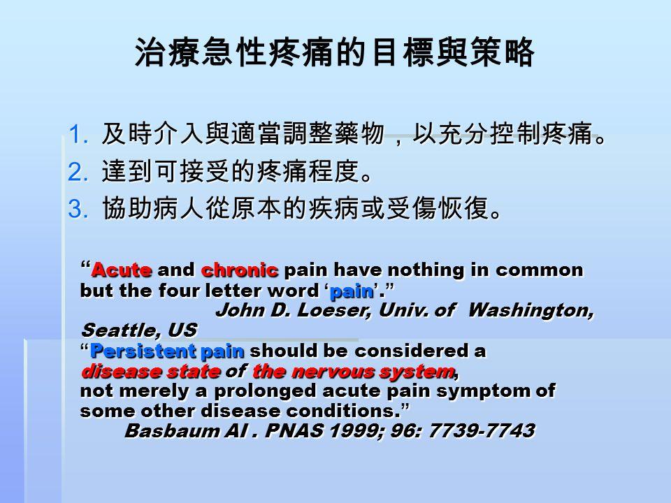 """治療急性疼痛的目標與策略 1. 及時介入與適當調整藥物,以充分控制疼痛。 2. 達到可接受的疼痛程度。 3. 協助病人從原本的疾病或受傷恢復。 """" Acute and chronic pain have nothing in common but the four letter word ' pai"""