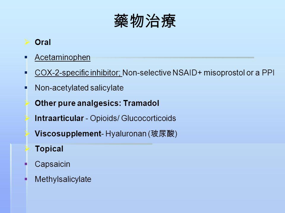 藥物治療   Oral   Acetaminophen   COX-2-specific inhibitor; Non-selective NSAID+ misoprostol or a PPI   Non-acetylated salicylate   Other pure a