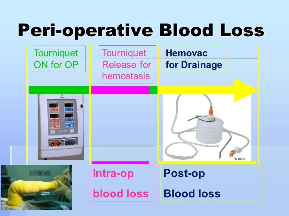 Peri-operative Blood Loss Tourniquet Release for hemostasis Hemovac for Drainage Tourniquet ON for OP Intra-op blood loss Post-op Blood loss