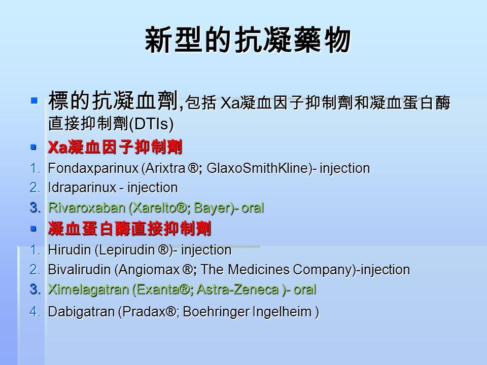 新型的抗凝藥物  標的抗凝血劑, 包括 Xa 凝血因子抑制劑和凝血蛋白酶 直接抑制劑 (DTIs)  Xa 凝血因子抑制劑 1.Fondaxparinux (Arixtra ®; GlaxoSmithKline)- injection 2.Idraparinux - injection 3.Ri