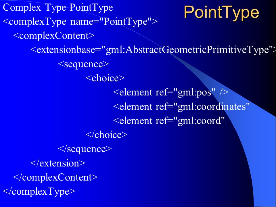 PointType Complex Type PointType <element ref= gml:coordinates <element ref= gml:coord