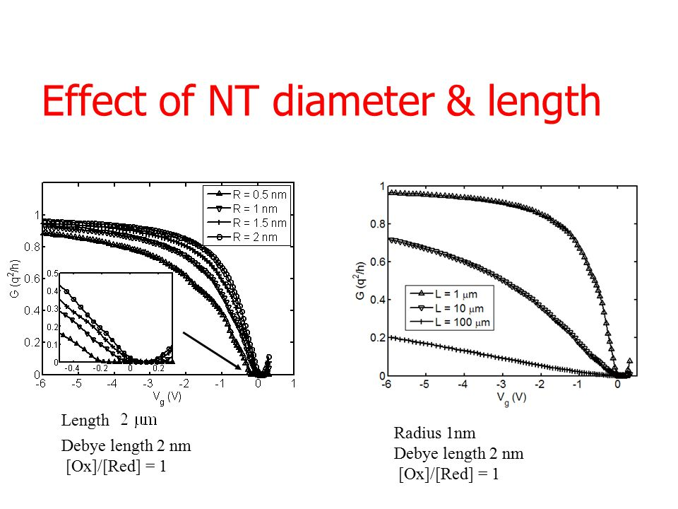 Effect of NT diameter & length Length Debye length 2 nm [Ox]/[Red] = 1 Radius 1nm Debye length 2 nm [Ox]/[Red] = 1