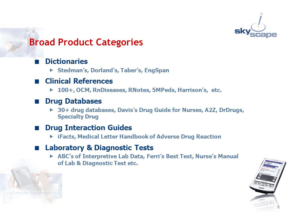 9 Evidence Based Medicine  Cochrane Reviews, ACP PIER, 15 eMedicine references Alternative Medicine  Guide to Popular Natural Products, Natural Comprehensive DB Coding  ICD-9 Calculators  Archimedes (free) Journals & Newsletters  CDC Spotlights, MedWatch, Preventing Chronic Diseases (free)  DrugLink, Drug Newsletter Weekly Broad Product Categories – contd.