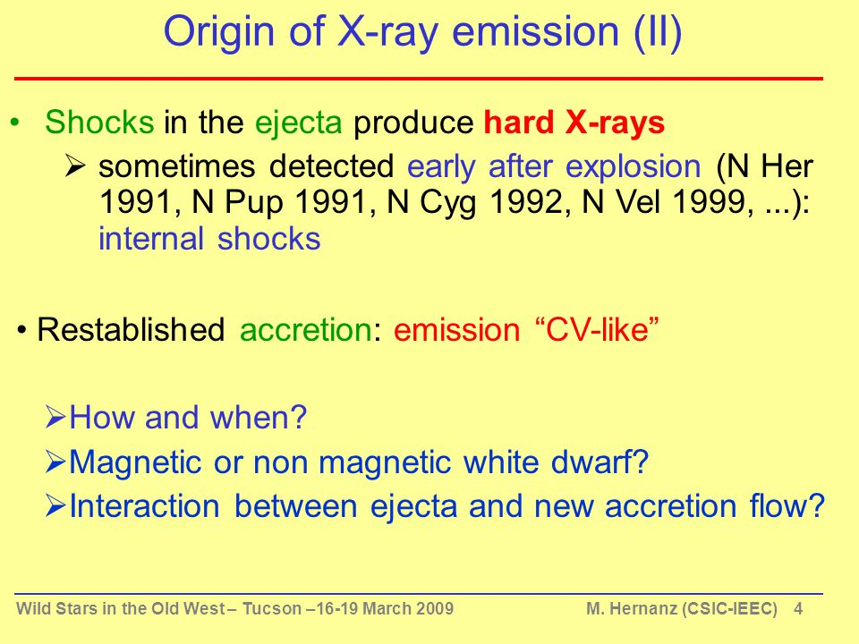 Wild Stars in the Old West – Tucson –16-19 March 2009 M. Hernanz (CSIC-IEEC) 4 Origin of X-ray emission (II) Shocks in the ejecta produce hard X-rays