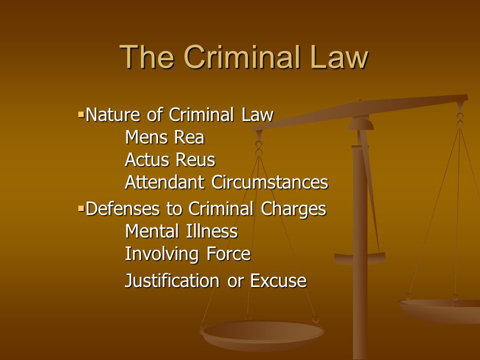 The Criminal Law  Nature of Criminal Law Mens Rea Actus Reus Attendant Circumstances  Defenses to Criminal Charges Mental Illness Involving Force Ju