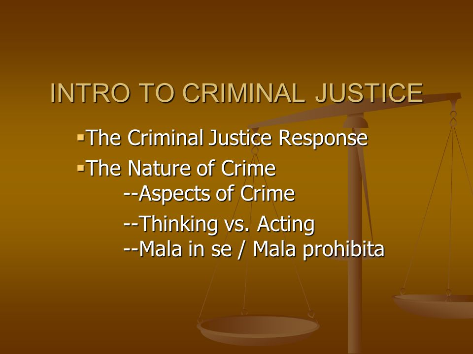 INTRO TO CRIMINAL JUSTICE  The Criminal Justice Response  The Nature of Crime --Aspects of Crime --Thinking vs.