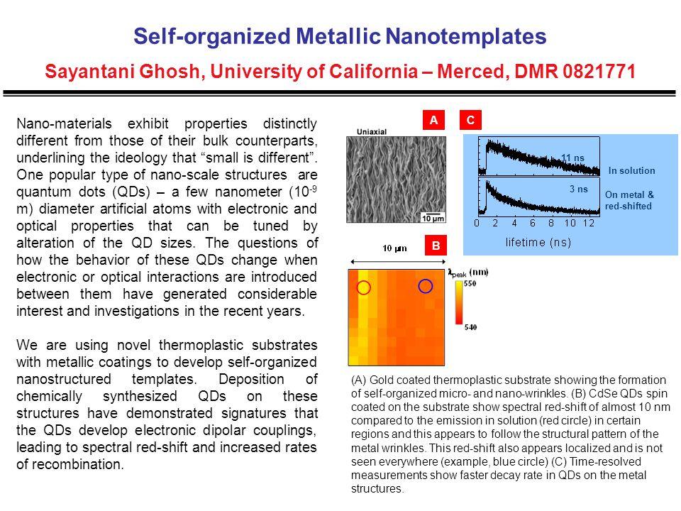 Self-organized Metallic Nanotemplates Sayantani Ghosh, University of California – Merced, DMR 0821771 Nano-materials exhibit properties distinctly dif