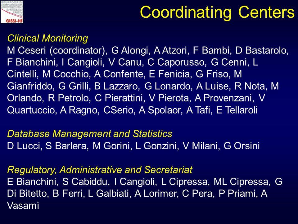 Clinical Monitoring M Ceseri (coordinator), G Alongi, A Atzori, F Bambi, D Bastarolo, F Bianchini, I Cangioli, V Canu, C Caporusso, G Cenni, L Cintelli, M Cocchio, A Confente, E Fenicia, G Friso, M Gianfriddo, G Grilli, B Lazzaro, G Lonardo, A Luise, R Nota, M Orlando, R Petrolo, C Pierattini, V Pierota, A Provenzani, V Quartuccio, A Ragno, CSerio, A Spolaor, A Tafi, E Tellaroli Database Management and Statistics D Lucci, S Barlera, M Gorini, L Gonzini, V Milani, G Orsini Regulatory, Administrative and Secretariat E Bianchini, S Cabiddu, I Cangioli, L Cipressa, ML Cipressa, G Di Bitetto, B Ferri, L Galbiati, A Lorimer, C Pera, P Priami, A Vasamì Coordinating Centers
