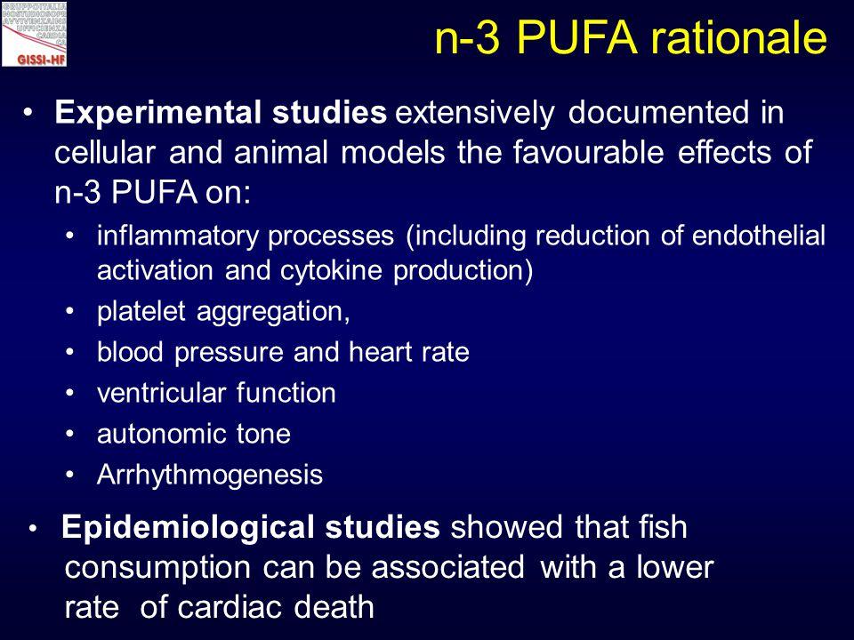 Effect of n-3 PUFA treatment in GISSI-Prevenzione (11.323 post-MI pts) 0% -15% Death Non-fatal AMI Non-fatal stroke p<0.02 -20% CV Death Non-fatal AMI Non-fatal stroke p<0.008 -21% Overallmortality p<0.02 -30% CV death p<0.02 -44% Suddendeath p<0.01 -4% Non-fatalevents n.s.
