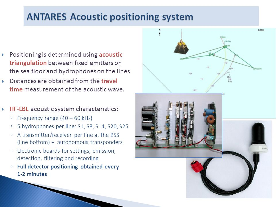  Positioning is determined using acoustic triangulation between fixed emitters on the sea floor and hydrophones on the lines  Distances are obtained from the travel time measurement of the acoustic wave.