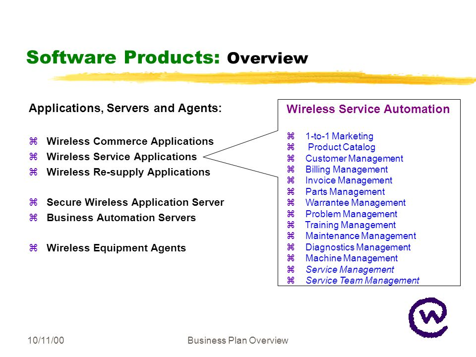 10/11/00Business Plan Overview Software Products: Overview Applications, Servers and Agents: zWireless Commerce Applications zWireless Service Applications zWireless Re-supply Applications zSecure Wireless Application Server zBusiness Automation Servers zWireless Equipment Agents Wireless Service Automation z 1-to-1 Marketing z Product Catalog z Customer Management z Billing Management z Invoice Management z Parts Management z Warrantee Management z Problem Management z Training Management z Maintenance Management z Diagnostics Management z Machine Management z Service Management z Service Team Management