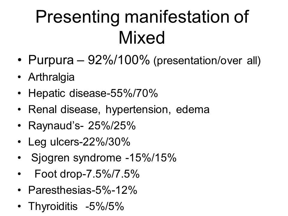 Presenting manifestation of Mixed Purpura – 92%/100% (presentation/over all) Arthralgia Hepatic disease-55%/70% Renal disease, hypertension, edema Raynaud's- 25%/25% Leg ulcers-22%/30% Sjogren syndrome -15%/15% Foot drop-7.5%/7.5% Paresthesias-5%-12% Thyroiditis -5%/5%