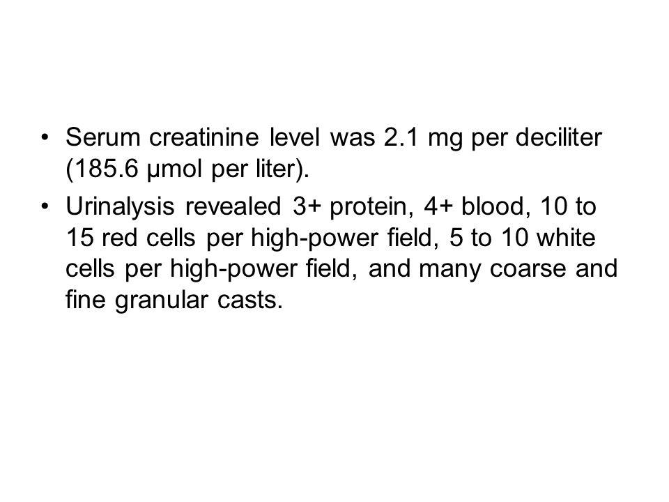 Serum creatinine level was 2.1 mg per deciliter (185.6 μmol per liter).