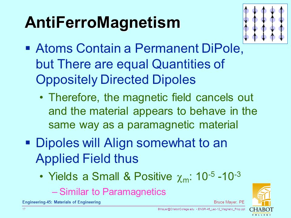 BMayer@ChabotCollege.edu ENGR-45_Lec-12_Magnetic_Prop.ppt 17 Bruce Mayer, PE Engineering-45: Materials of Engineering AntiFerroMagnetism  Atoms Contain a Permanent DiPole, but There are equal Quantities of Oppositely Directed Dipoles Therefore, the magnetic field cancels out and the material appears to behave in the same way as a paramagnetic material  Dipoles will Align somewhat to an Applied Field thus Yields a Small & Positive  m : 10 -5 -10 -3 –Similar to Paramagnetics