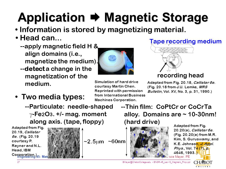 BMayer@ChabotCollege.edu ENGR-45_Lec-12_Magnetic_Prop.ppt 27 Bruce Mayer, PE Engineering-45: Materials of Engineering 9 Information is stored by magnetizing material.