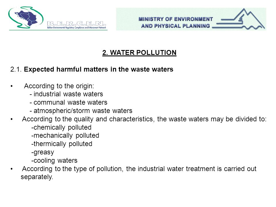 2. WATER POLLUTION 2.1.