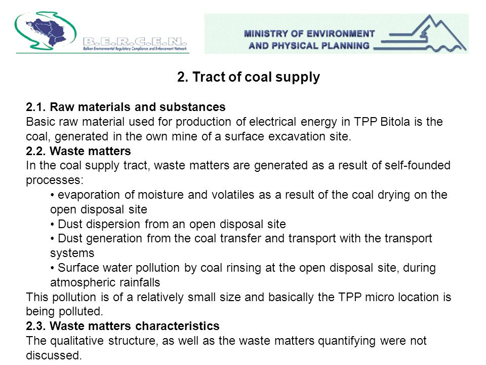 2. Tract of coal supply 2.1.