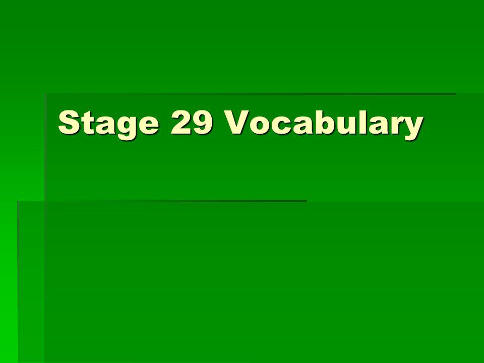 Stage 29 Vocabulary
