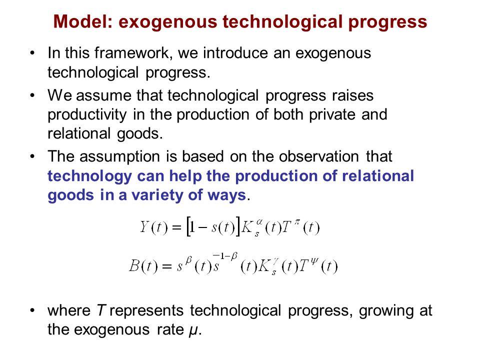 Model: exogenous technological progress In this framework, we introduce an exogenous technological progress.
