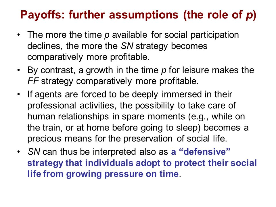 Payoffs: further assumptions (the role of p) The more the time p available for social participation declines, the more the SN strategy becomes comparatively more profitable.