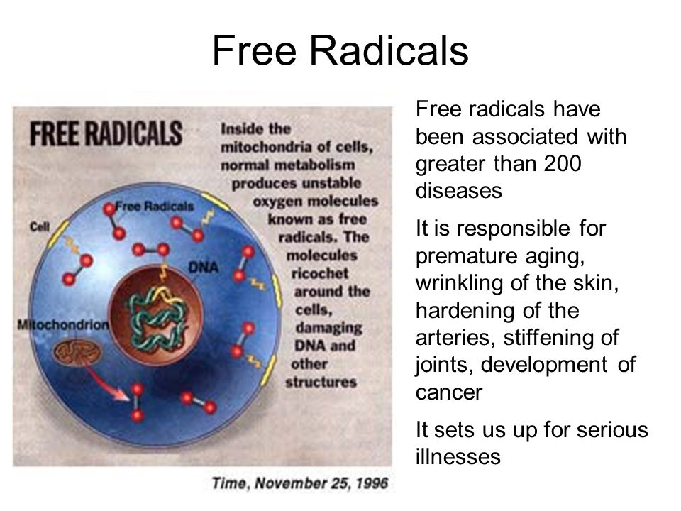Free Radicals Free radicals have been associated with greater than 200 diseases It is responsible for premature aging, wrinkling of the skin, hardening of the arteries, stiffening of joints, development of cancer It sets us up for serious illnesses