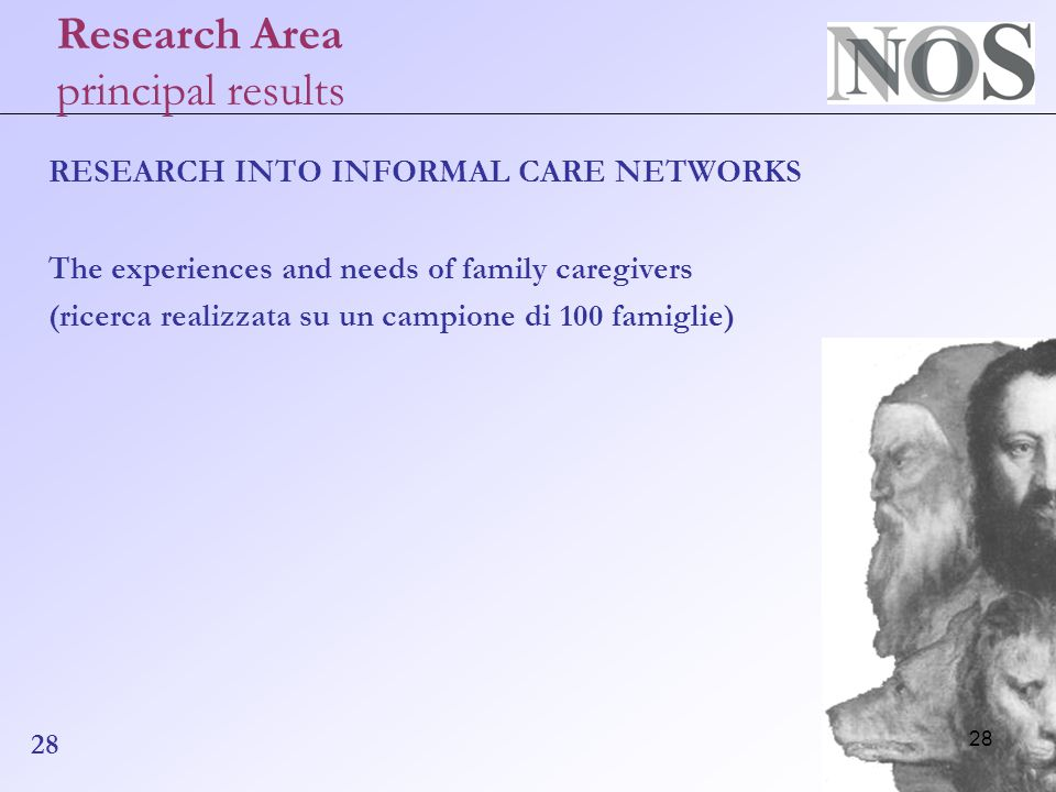 28 Research Area principal results RESEARCH INTO INFORMAL CARE NETWORKS The experiences and needs of family caregivers (ricerca realizzata su un campione di 100 famiglie) 28