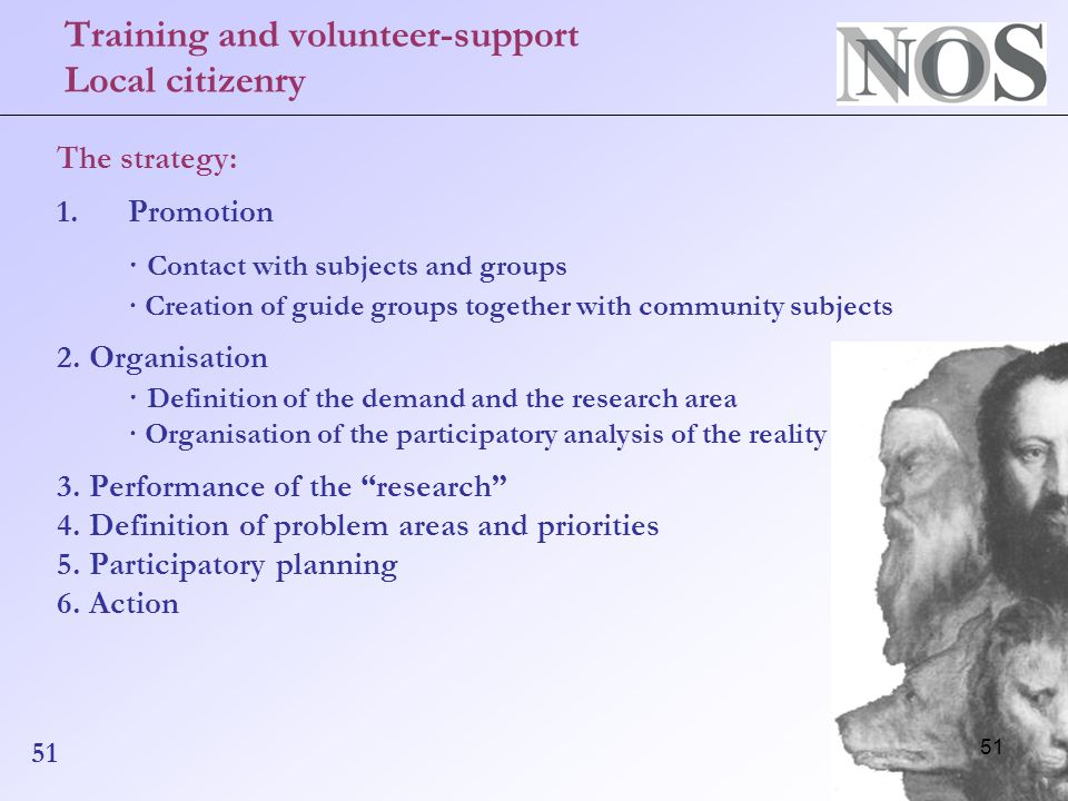51 Training and volunteer-support Local citizenry The strategy: 1.Promotion · Contact with subjects and groups · Creation of guide groups together with community subjects 2.