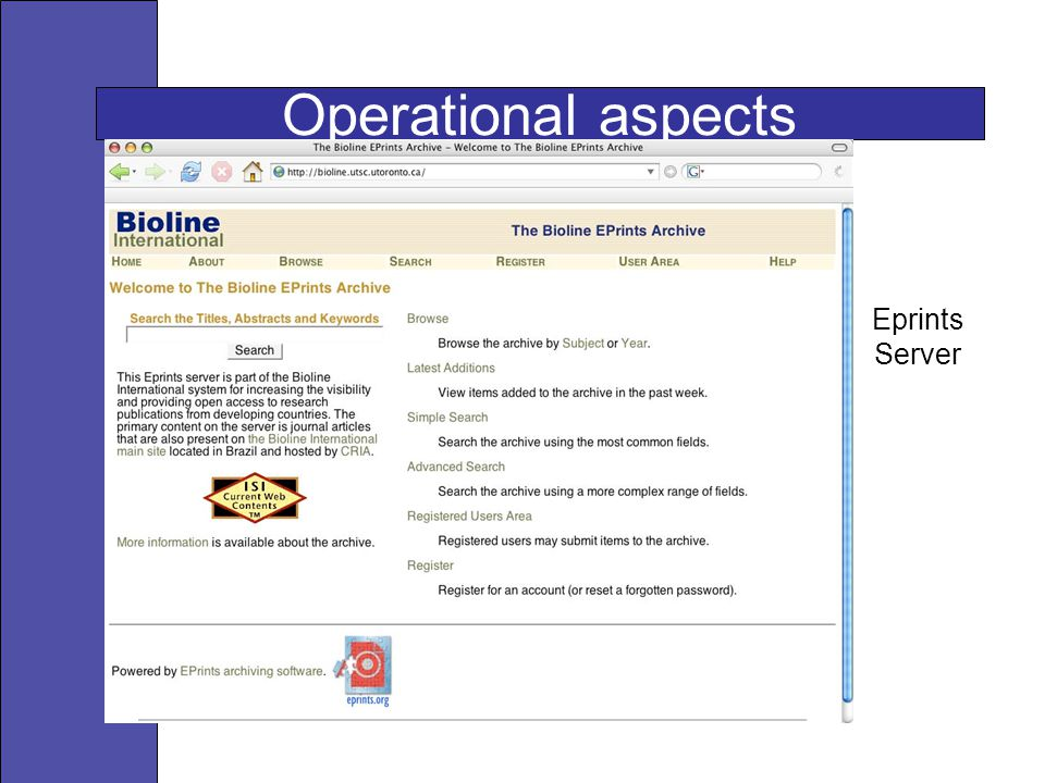 Operational aspects Eprints Server
