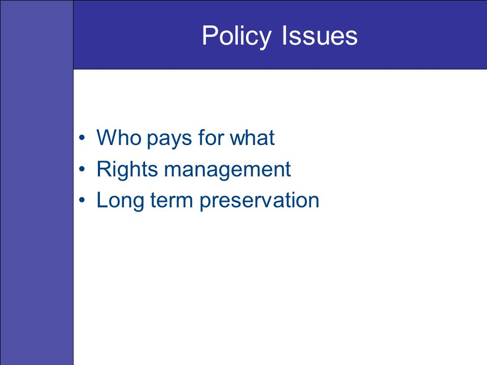Policy Issues Who pays for what Rights management Long term preservation