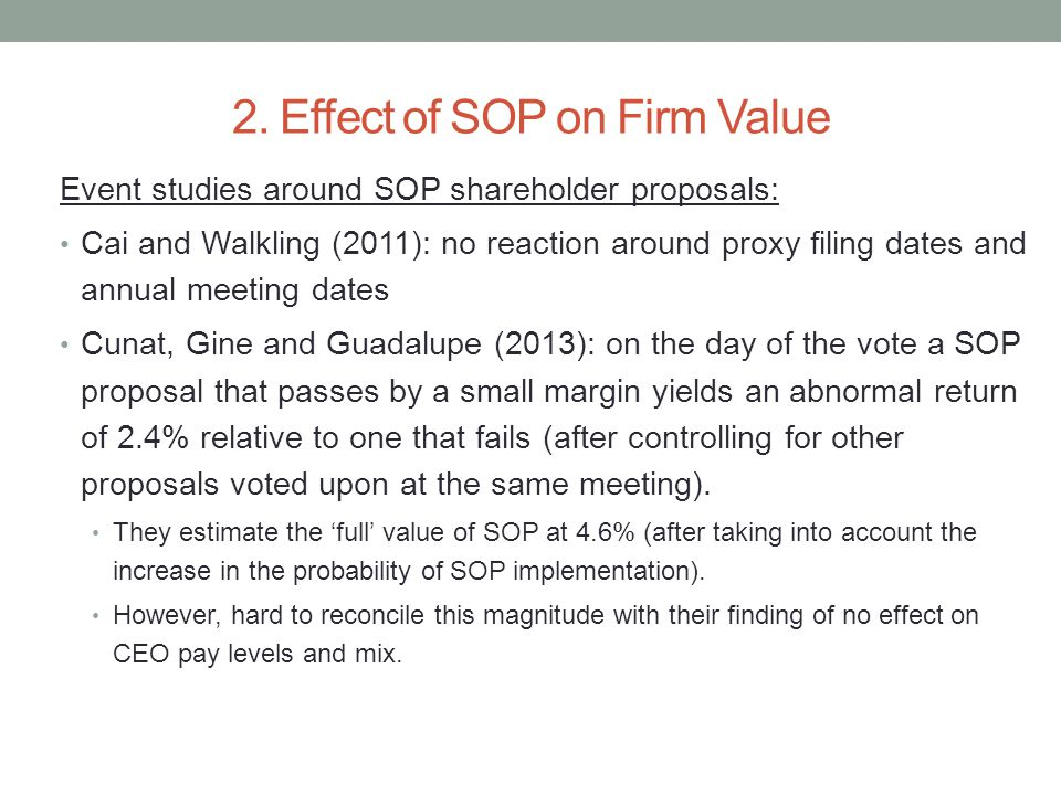 2. Effect of SOP on Firm Value Event studies around SOP shareholder proposals: Cai and Walkling (2011): no reaction around proxy filing dates and annu