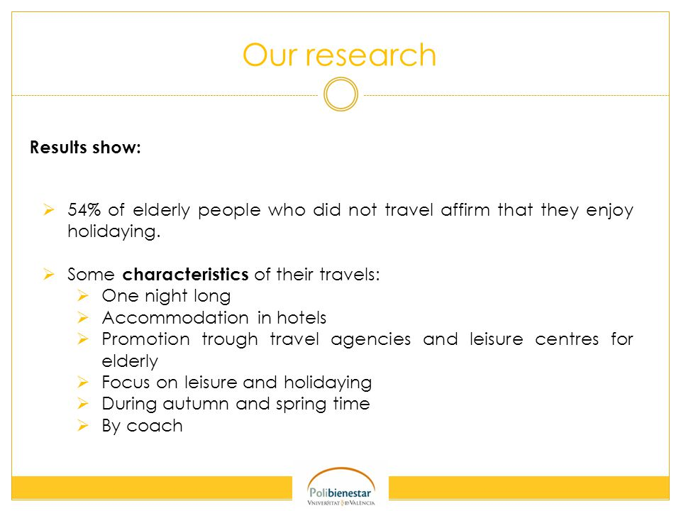 Our research Results show:  54% of elderly people who did not travel affirm that they enjoy holidaying.