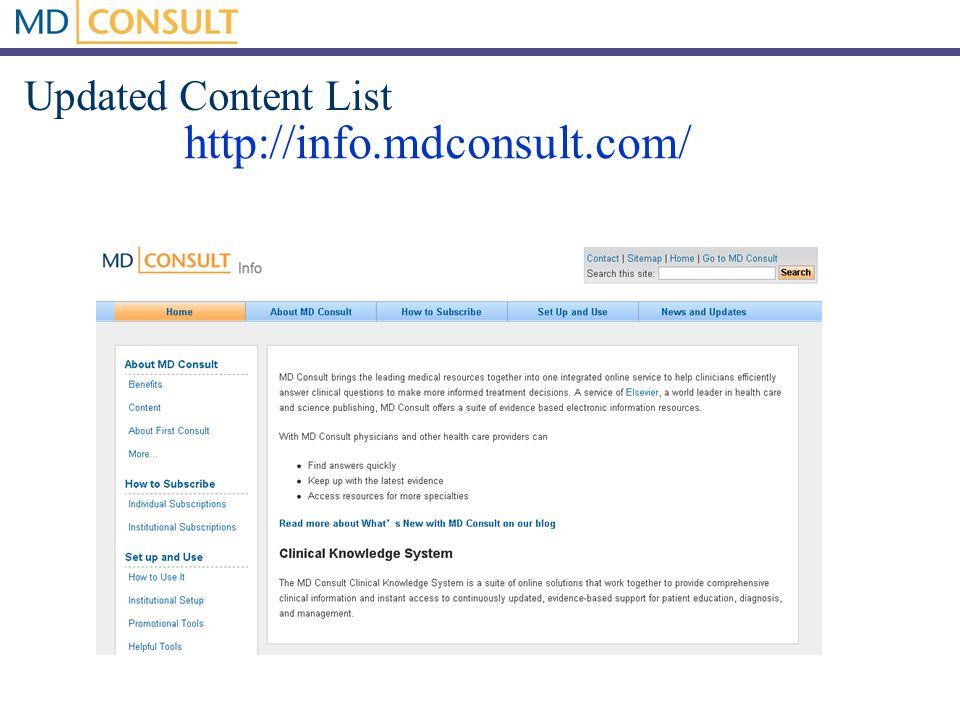Updated Content List http://info.mdconsult.com/