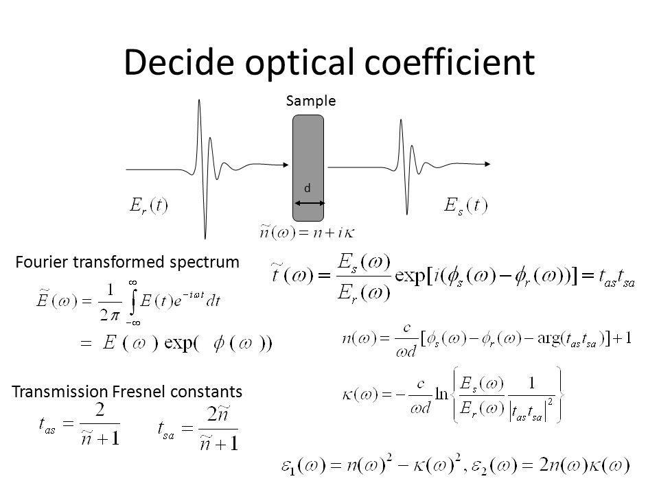 Decide optical coefficient d Sample Fourier transformed spectrum Transmission Fresnel constants