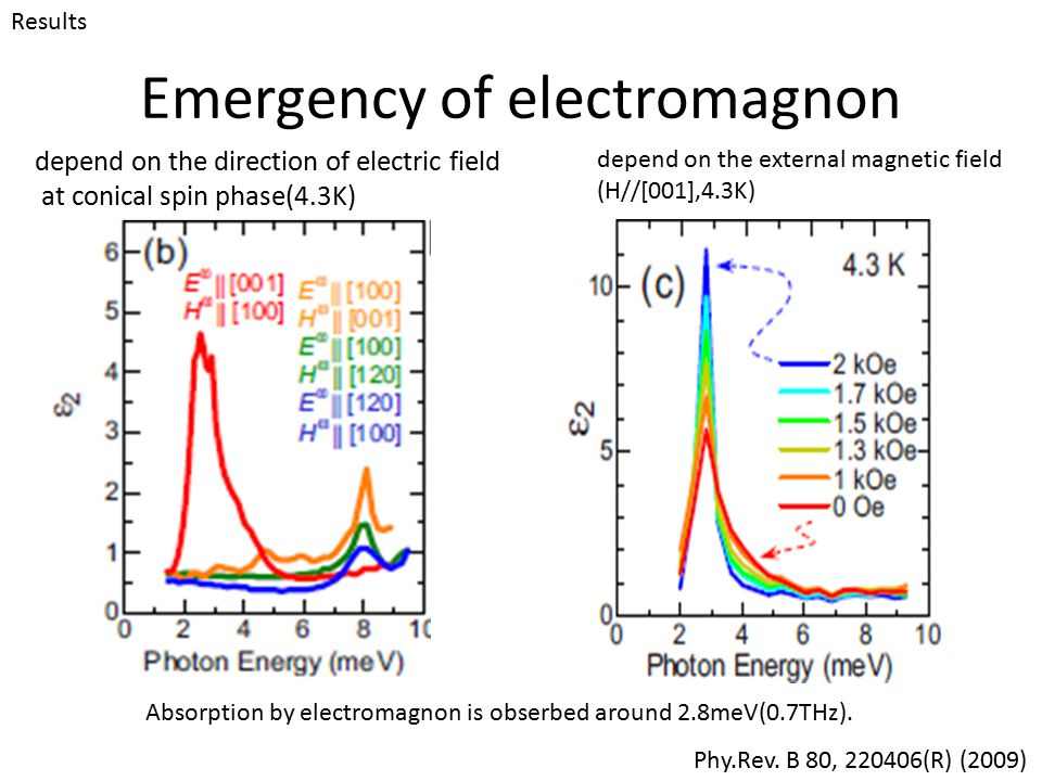 Emergency of electromagnon depend on the direction of electric field at conical spin phase(4.3K) depend on the external magnetic field (H//[001],4.3K)