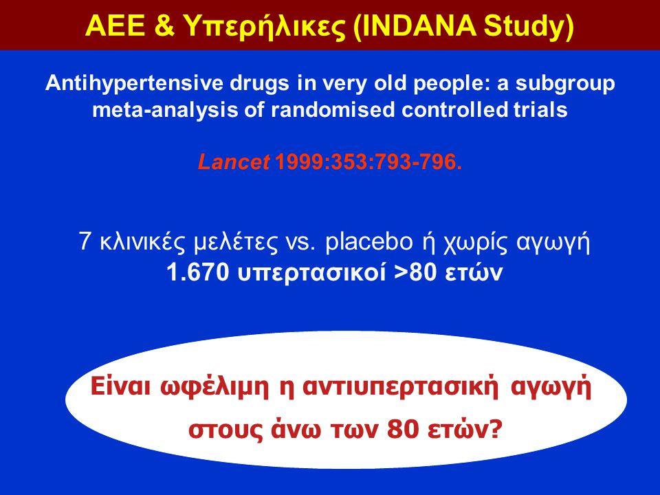 7 κλινικές μελέτες vs. placebo ή χωρίς αγωγή 1.670 υπερτασικοί >80 ετών Είναι ωφέλιμη η αντιυπερτασική αγωγή στους άνω των 80 ετών? Antihypertensive d