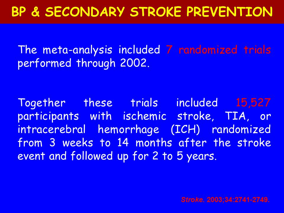 The meta-analysis included 7 randomized trials performed through 2002. Together these trials included 15,527 participants with ischemic stroke, TIA, o