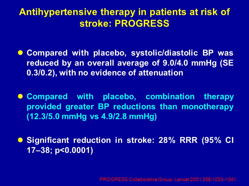 Antihypertensive therapy in patients at risk of stroke: PROGRESS Compared with placebo, systolic/diastolic BP was reduced by an overall average of 9.0