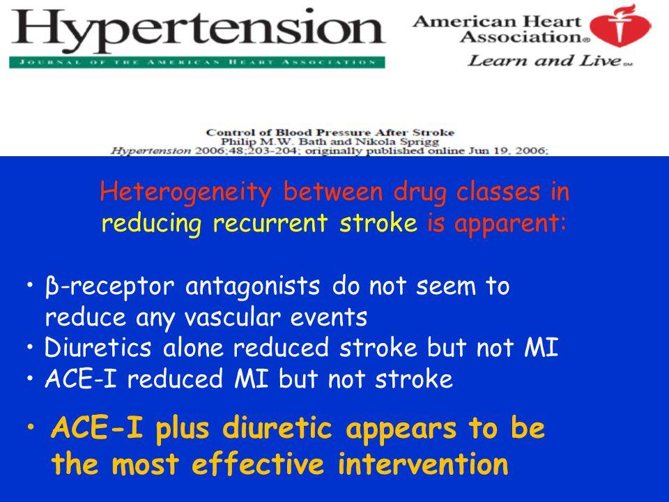 Heterogeneity between drug classes in reducing recurrent stroke is apparent: β-receptor antagonists do not seem to reduce any vascular events Diuretic
