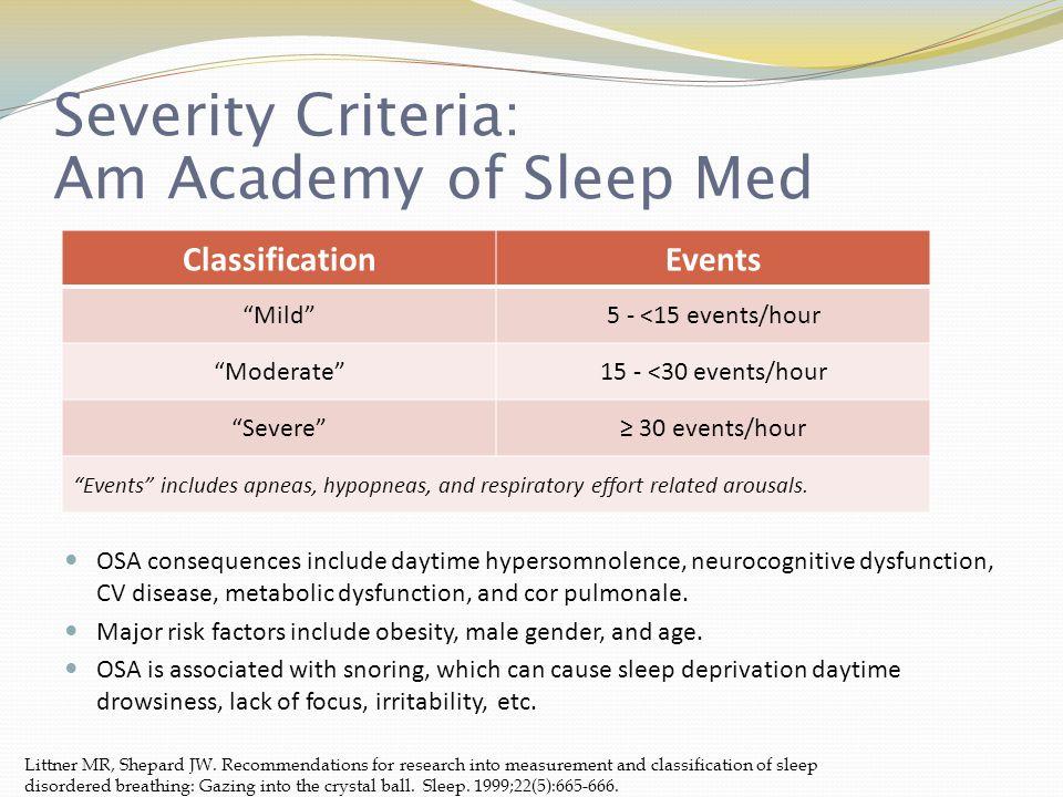 Severity Criteria: Am Academy of Sleep Med Littner MR, Shepard JW.