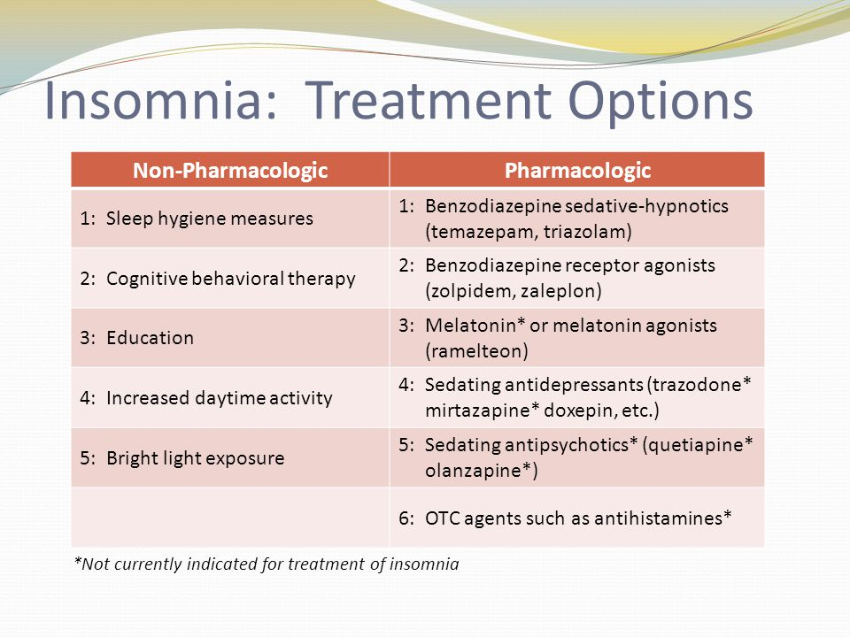Insomnia: Treatment Options Non-PharmacologicPharmacologic 1: Sleep hygiene measures 1: Benzodiazepine sedative-hypnotics (temazepam, triazolam) 2: Cognitive behavioral therapy 2: Benzodiazepine receptor agonists (zolpidem, zaleplon) 3: Education 3: Melatonin* or melatonin agonists (ramelteon) 4: Increased daytime activity 4: Sedating antidepressants (trazodone* mirtazapine* doxepin, etc.) 5: Bright light exposure 5: Sedating antipsychotics* (quetiapine* olanzapine*) 6: OTC agents such as antihistamines* *Not currently indicated for treatment of insomnia