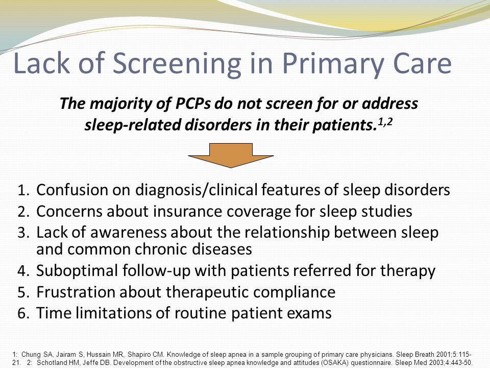 Lack of Screening in Primary Care 1. Confusion on diagnosis/clinical features of sleep disorders 2.