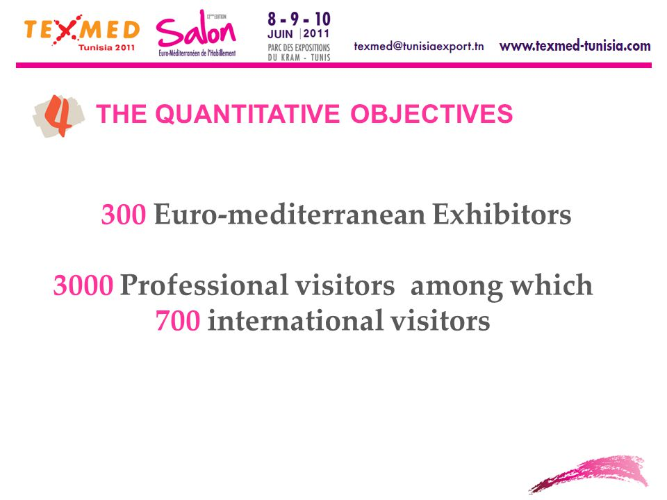 THE QUANTITATIVE OBJECTIVES 300 Euro-mediterranean Exhibitors 3000 Professional visitors among which 700 international visitors