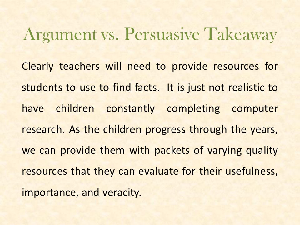 Argument vs. Persuasive Activity. 1.Please open the brown bag and take out the food item.