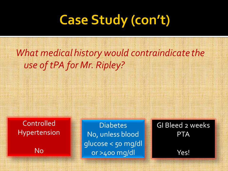 What medical history would contraindicate the use of tPA for Mr.