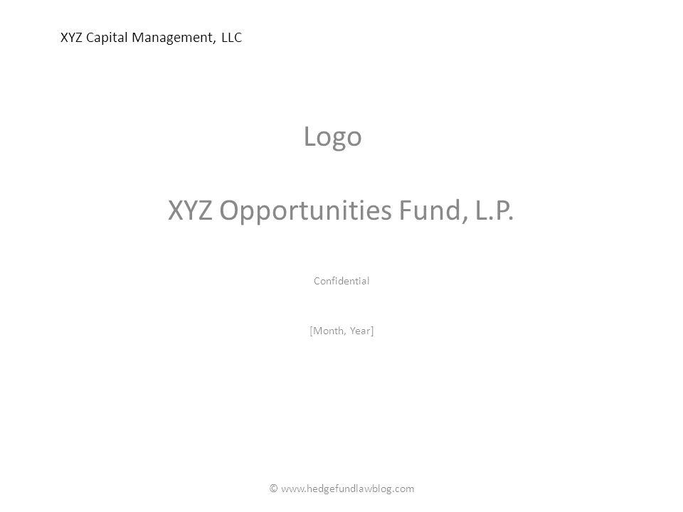 XYZ Capital Management, LLC XYZ Opportunities Fund, L.P.