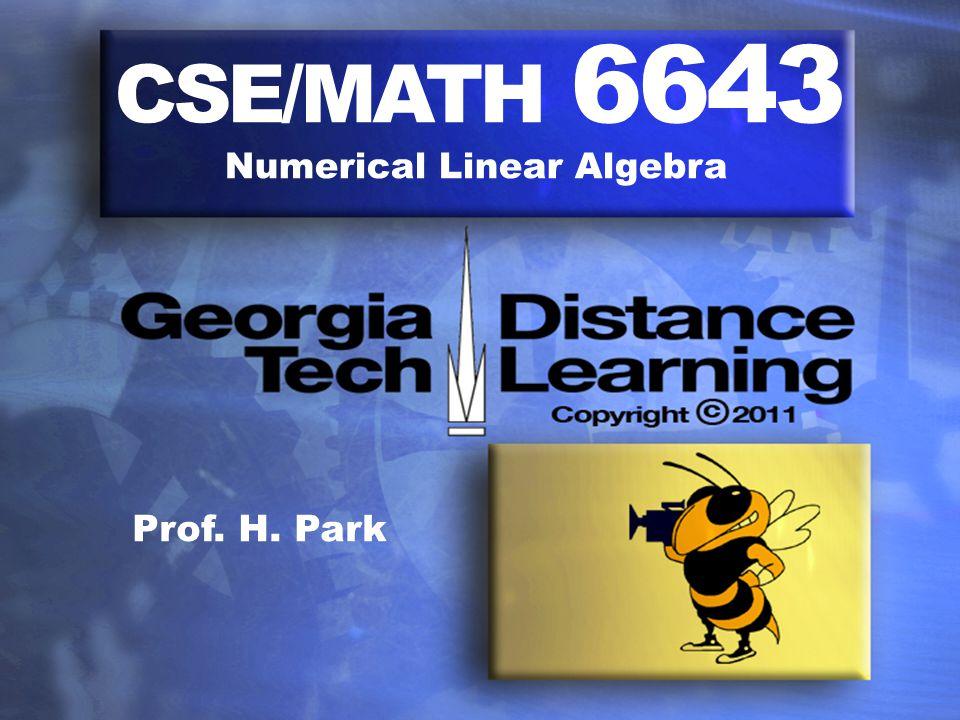 CSE/MATH 6643 Numerical Linear Algebra Prof. H. Park